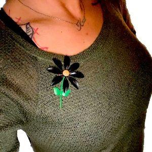 VTG- Black Daisy Stem Flower Pin/Brooch